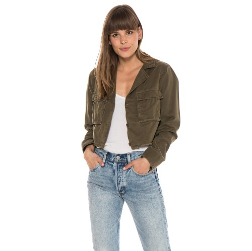 Crop Military Jacket | Frosted Pine
