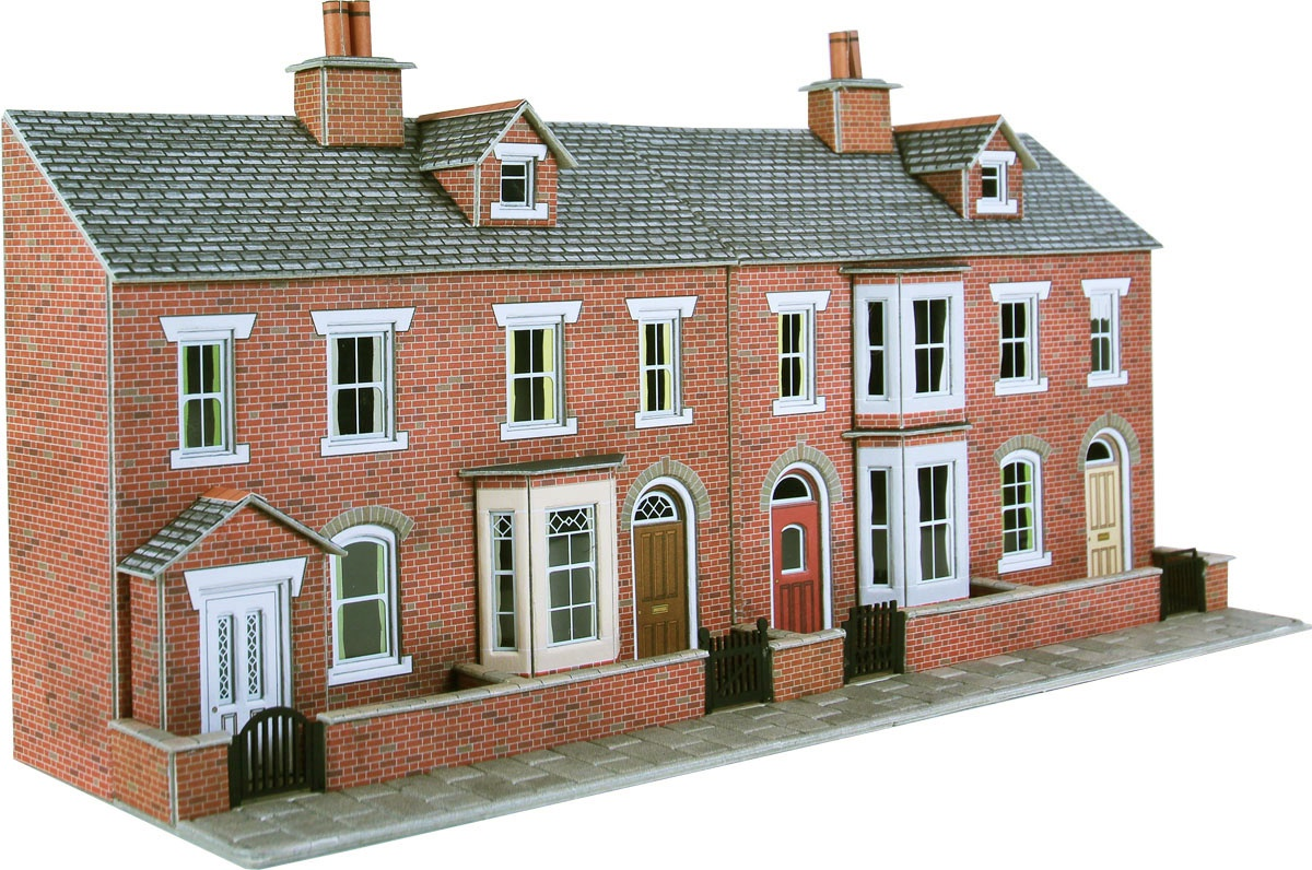 Metcalfe #PO274 Low Relief Red Brick Terraced House Fronts