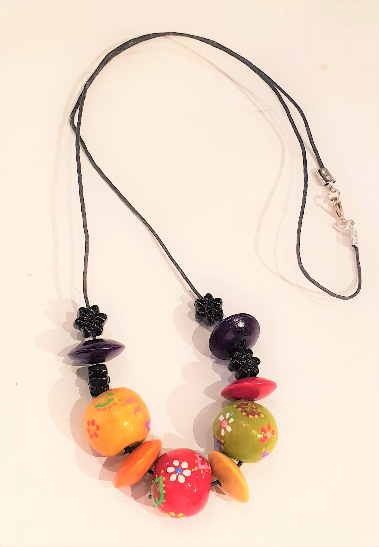 Hand painted African Bead Necklace