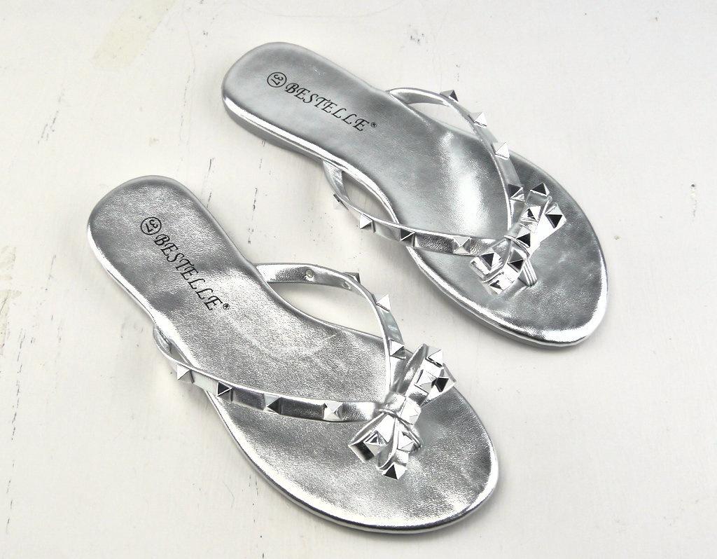 Silver Stud Flip Flop S302