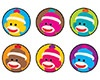 T 46198 SOCK MONKEYS SPOTS STICKERS