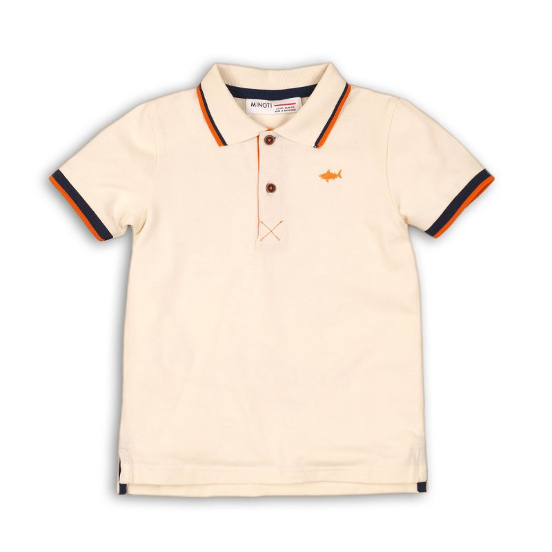 Minoti Pique Polo Top with Tipping detail
