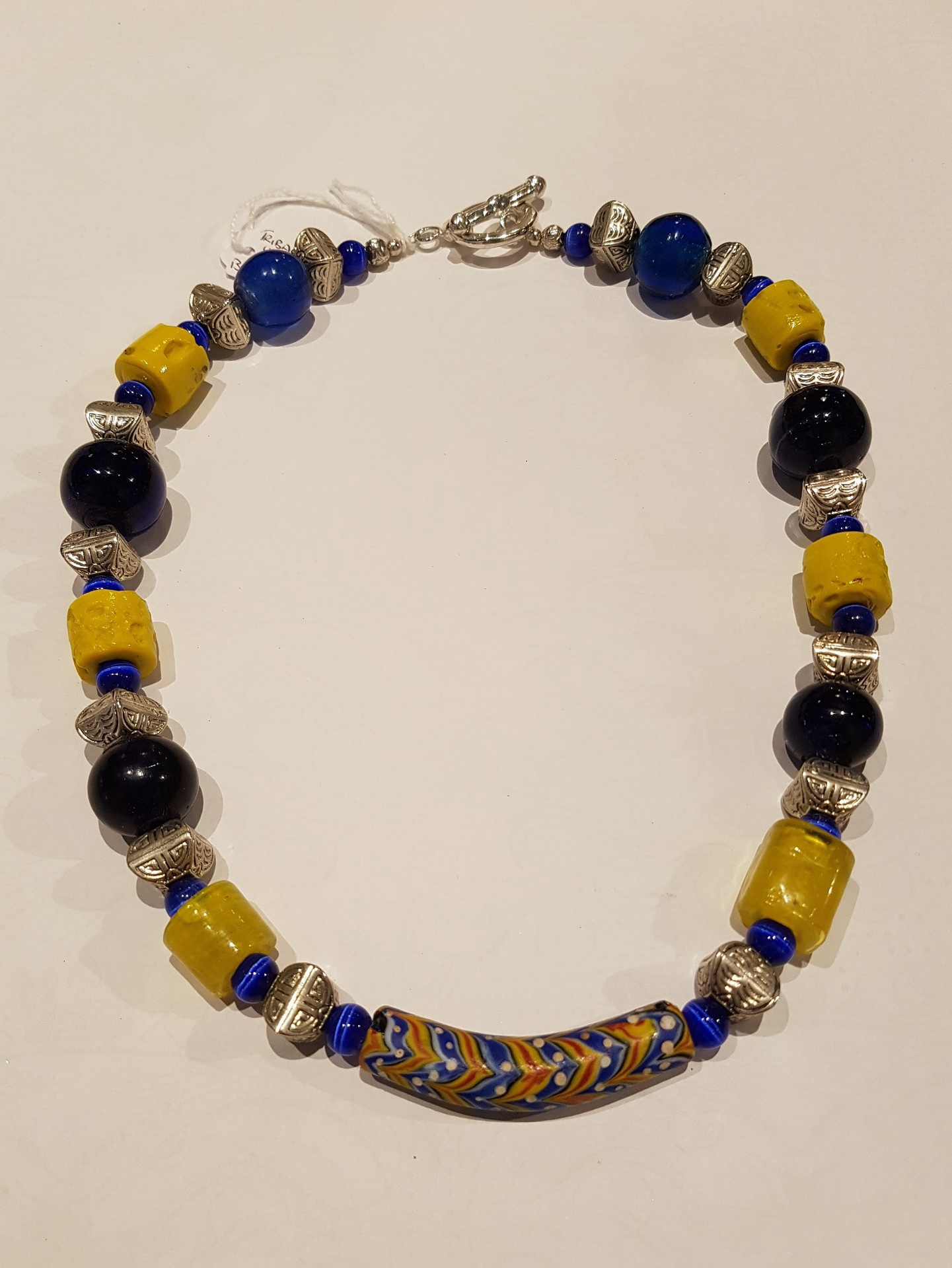 Blue and Yellow Tribal Necklace