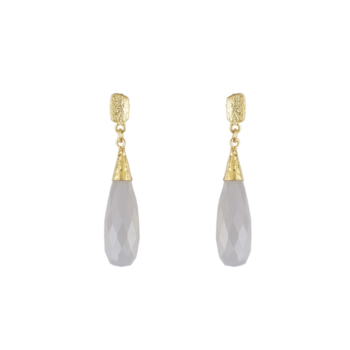 Elegant Faceted Gemstone Teardrop Earrings in Grey Chalcedony
