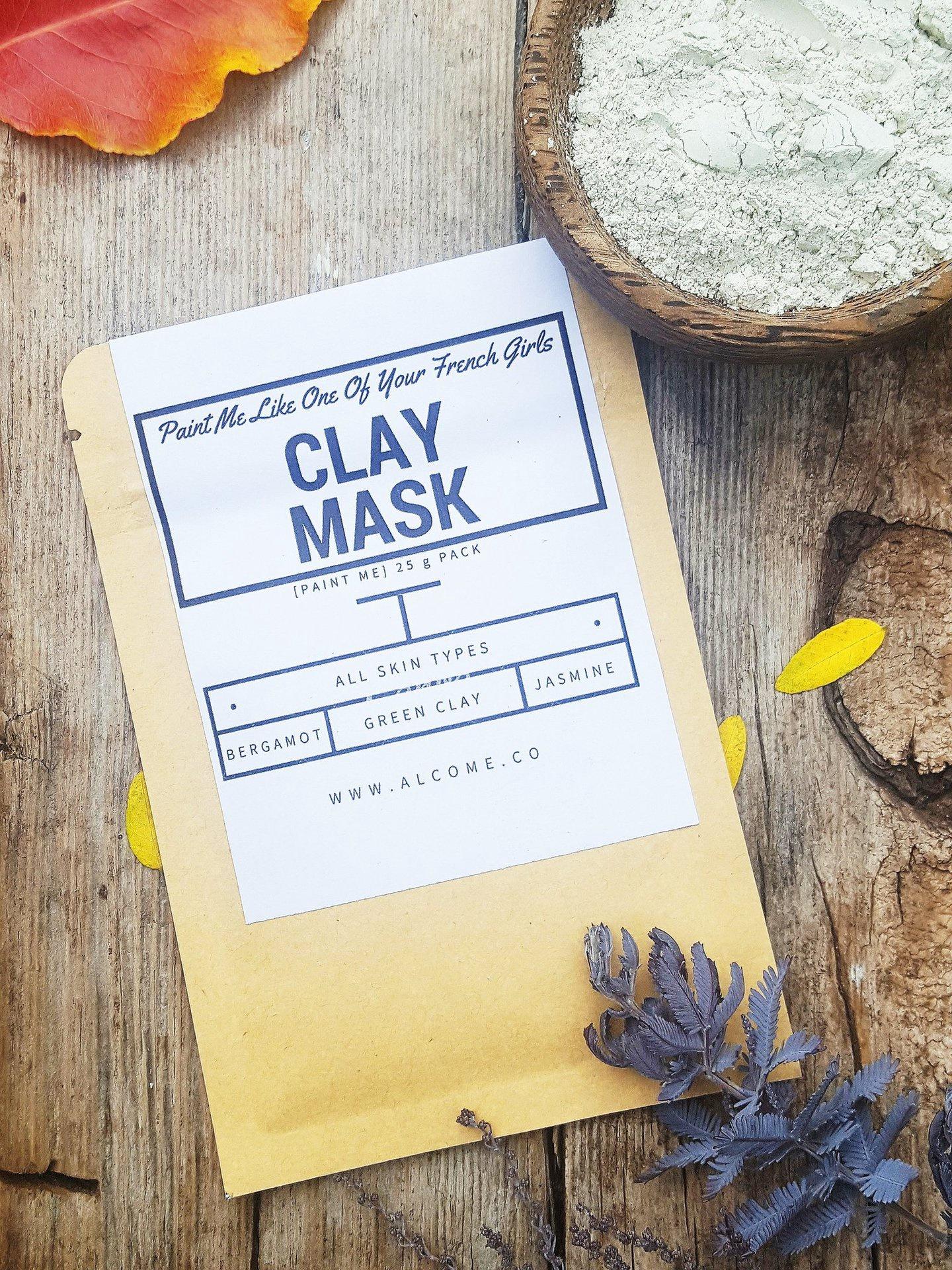 French Green Clay Treatment Mask / Detox & Clarify Skin / Organic Vegan Natural / 5 g