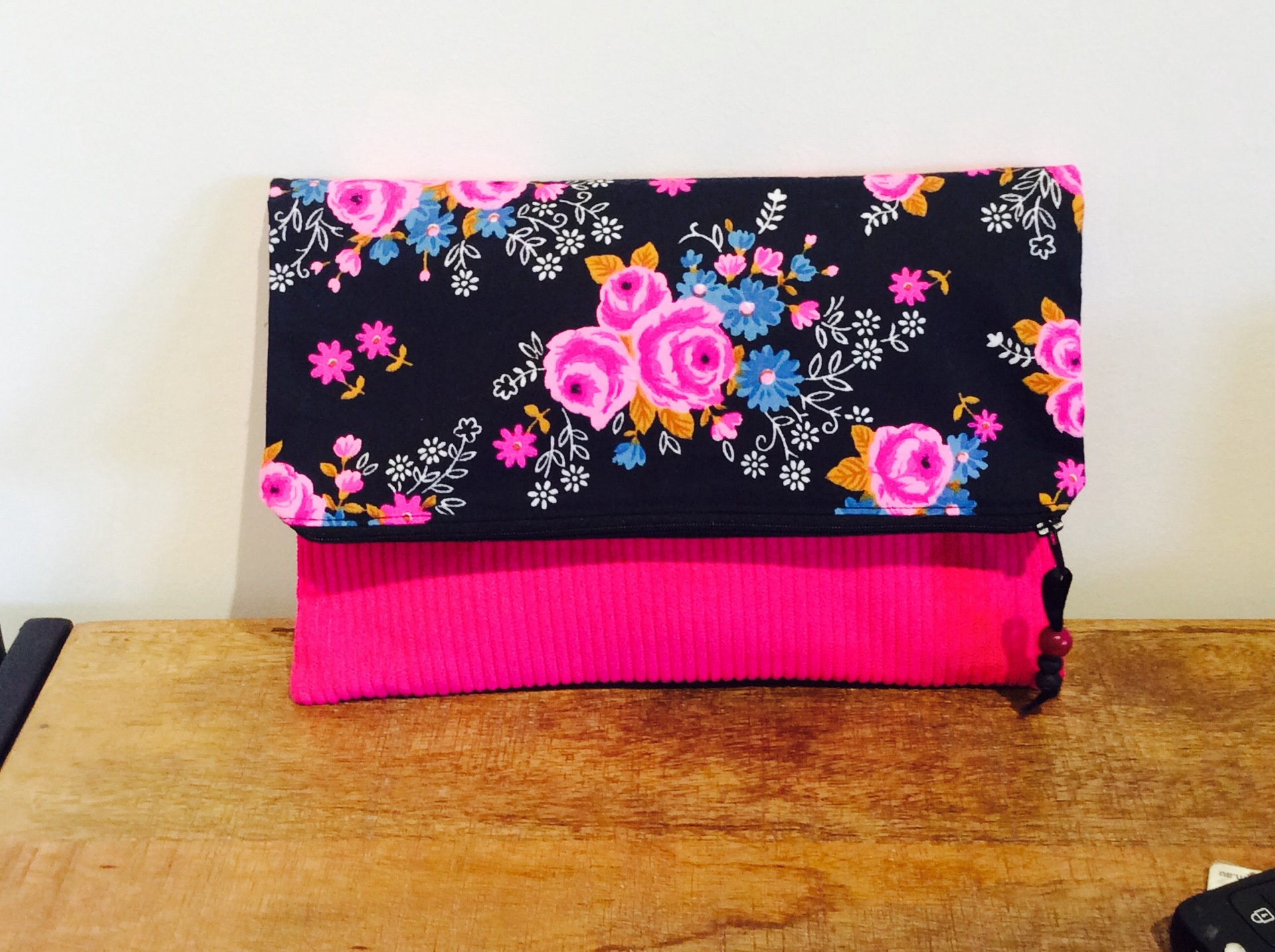Vintage Pink Fabric Fold Over Clutch