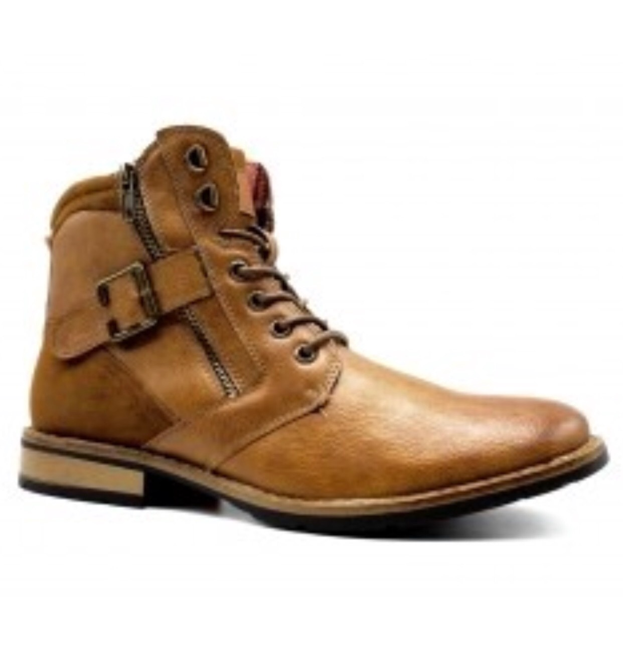 Menswear Men's Shoes - Camel Ankle Boots Zipped on Both Sides
