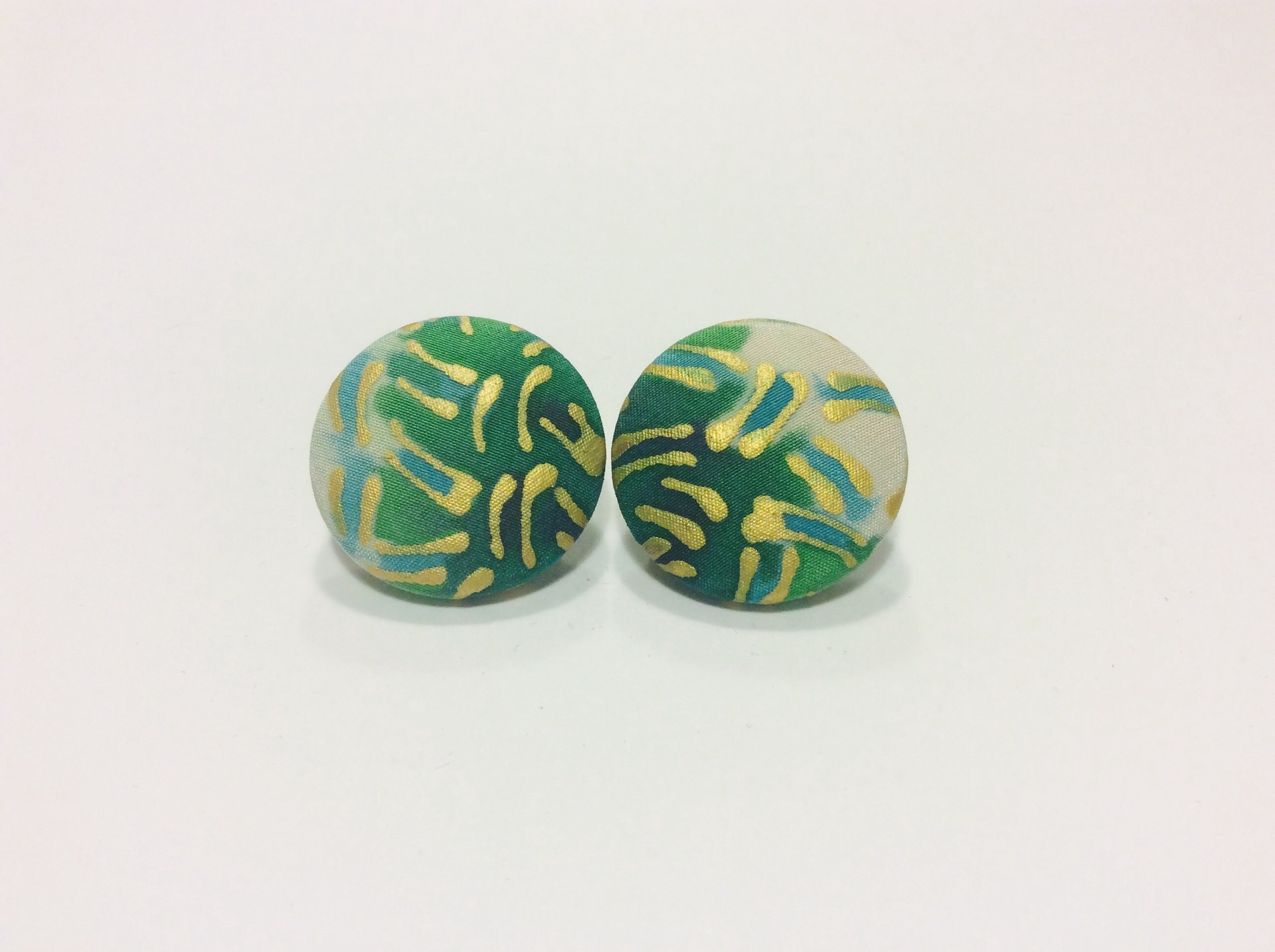 Green and gold round hand painted silk clip on earrings
