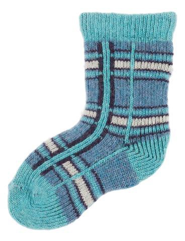LISA B. - BABY WOOL+CASHMERE PLAID SOCKS TURQUOISE