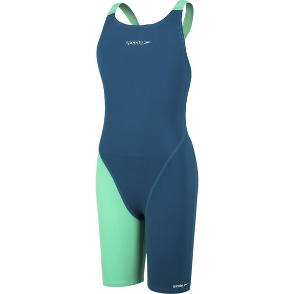 Girls Endurance+ Openback Kneeskin Nordic Teal/Green Glow