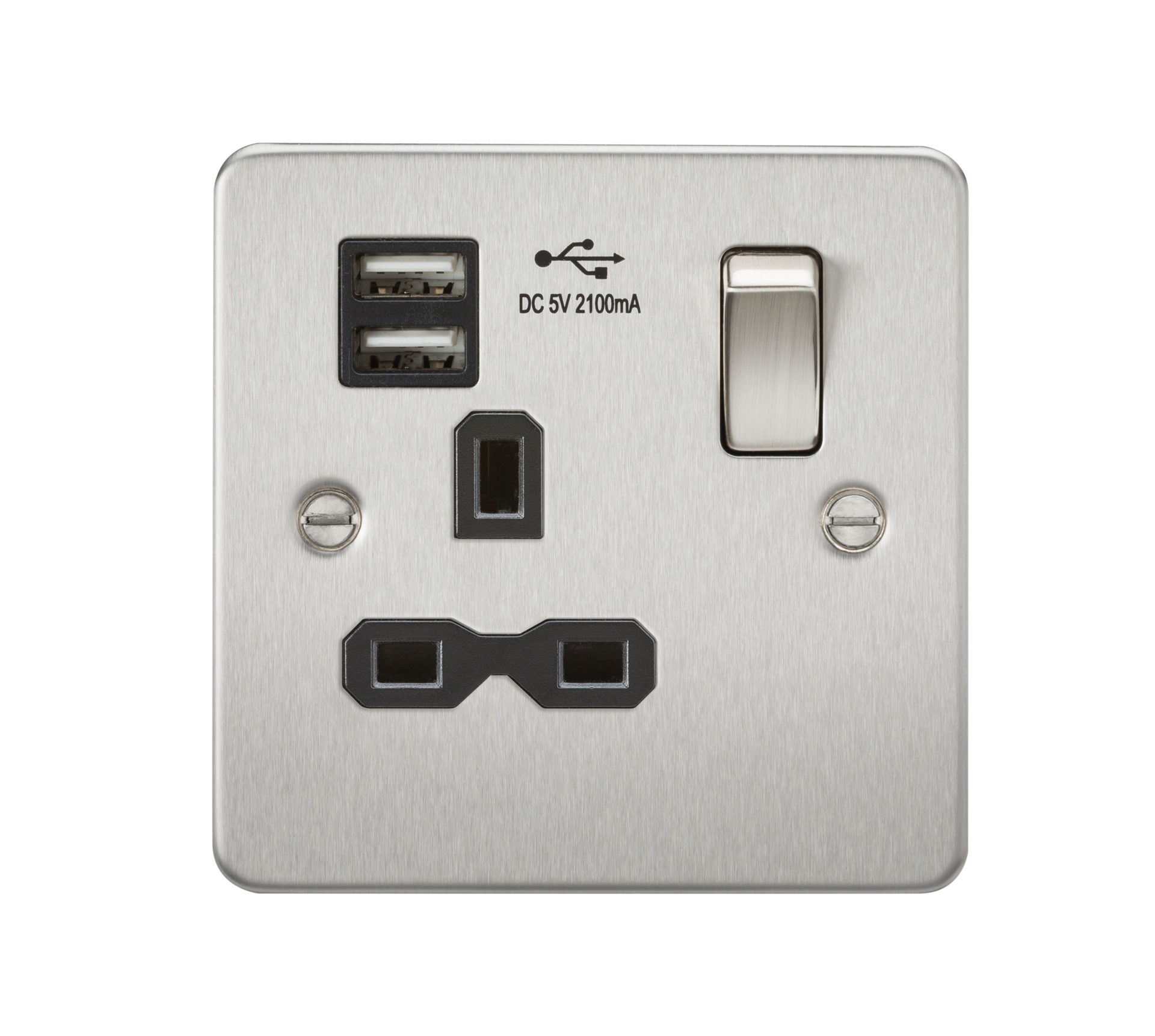 Flat plate 13A 1G switched socket with dual USB charger - brushed chrome with black insert