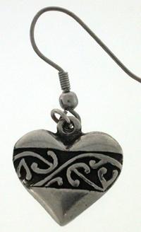 Earring pewter heart kowhaiwhai