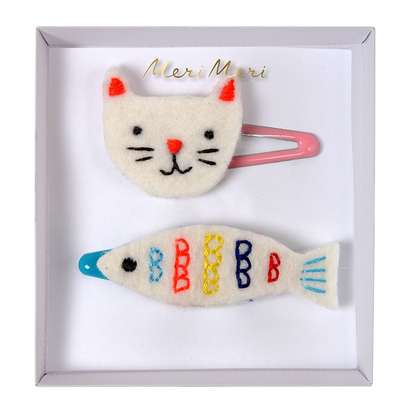 EMBROIDERED CAT & FISH HAIR CLIPS