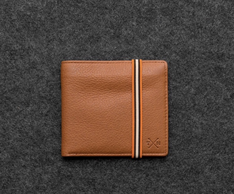 Tan East west Leather Elasticated Men's Wallet