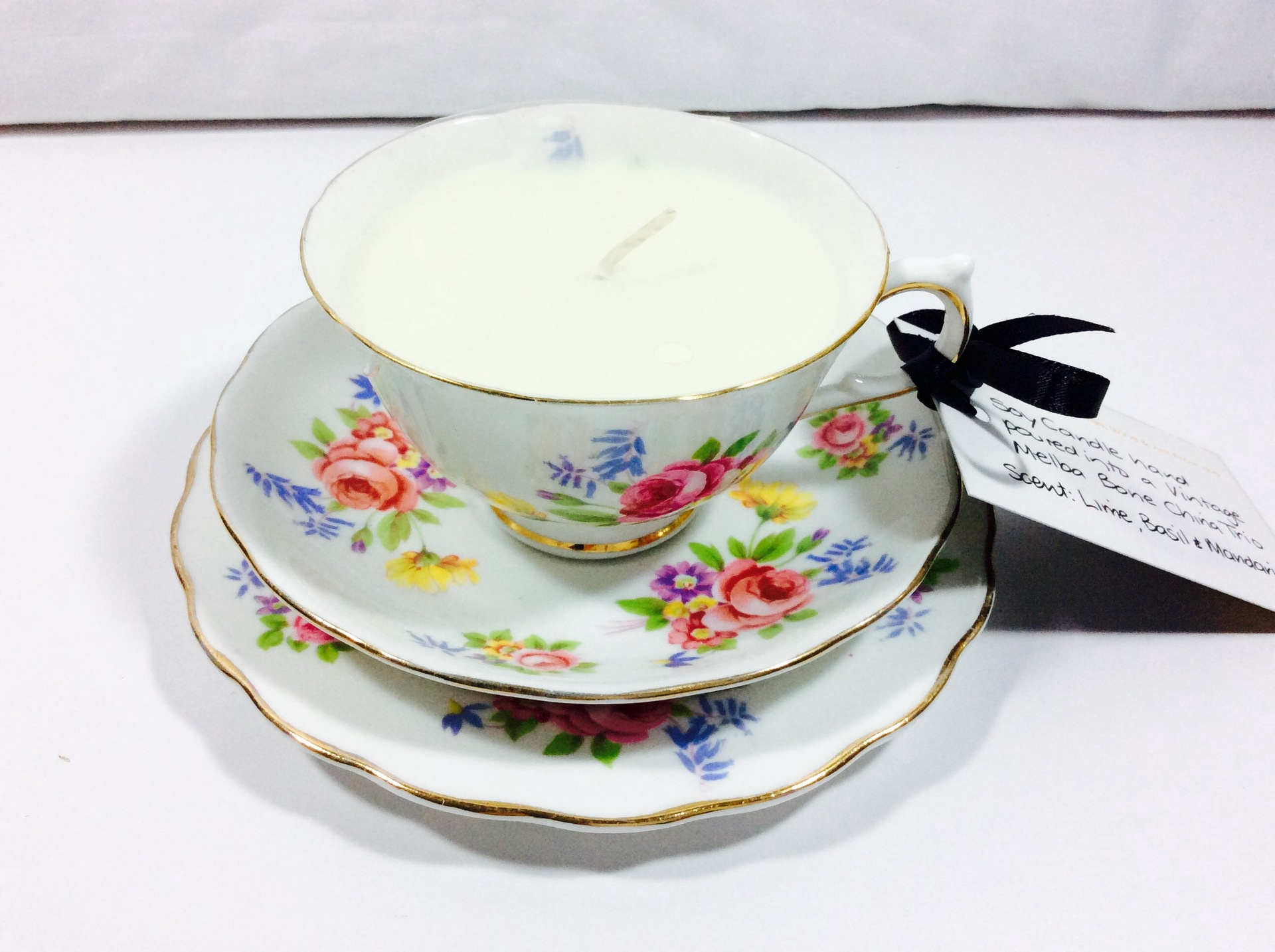 Vintage Tea Cup Candle -Melba Trio - Lime, Basil & Mandarin