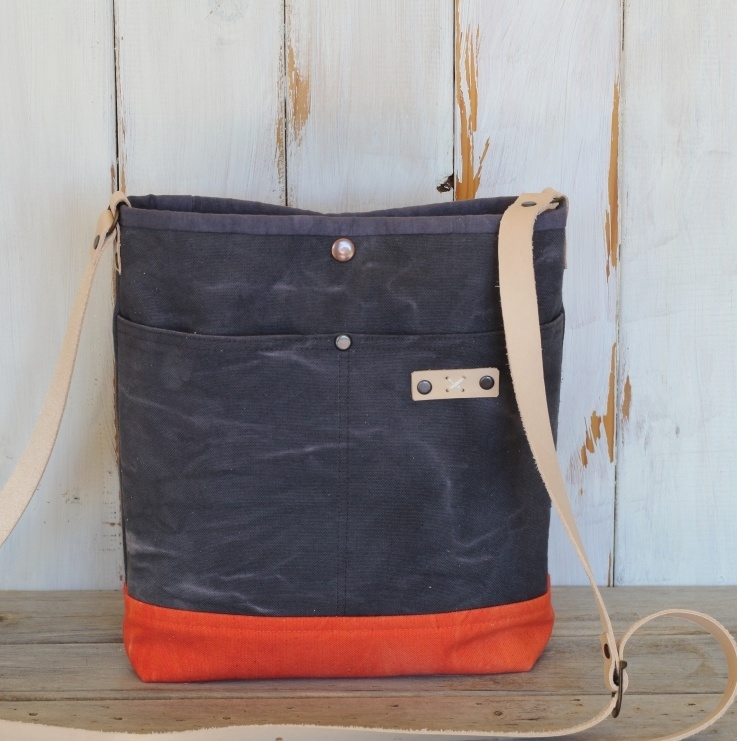 Grey and Orange Canvas Cross Body Bag