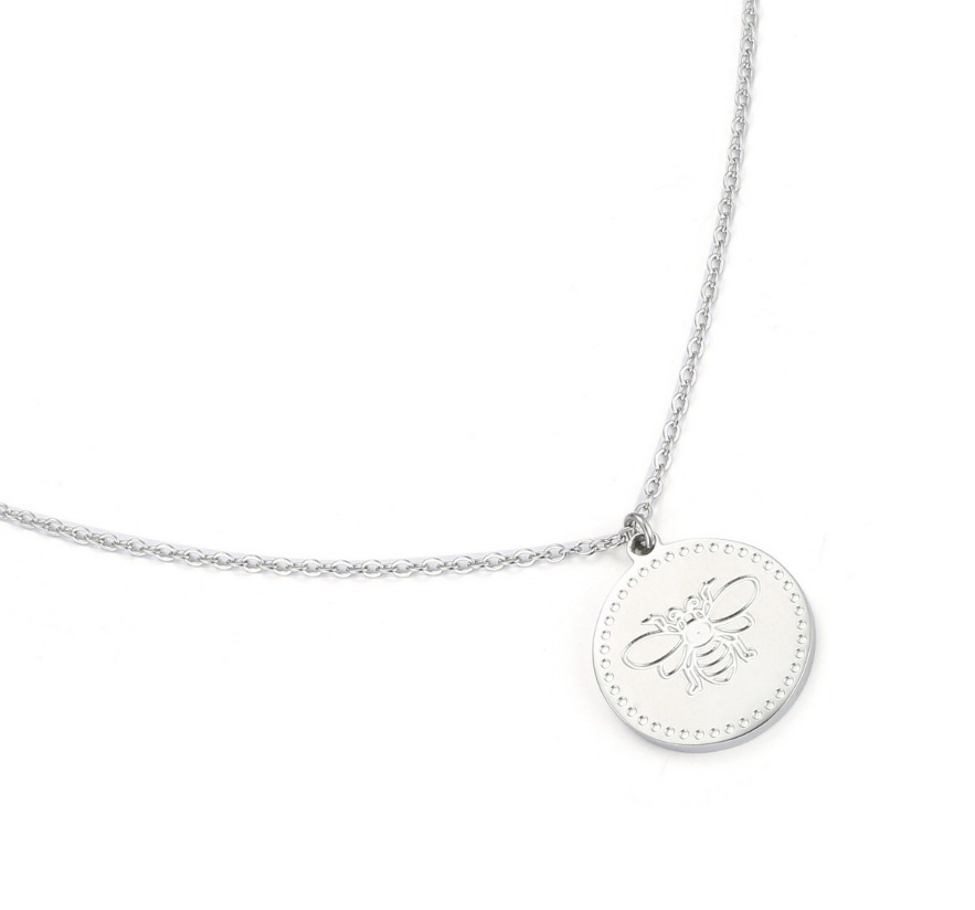 Silver engraved bee pendant necklace