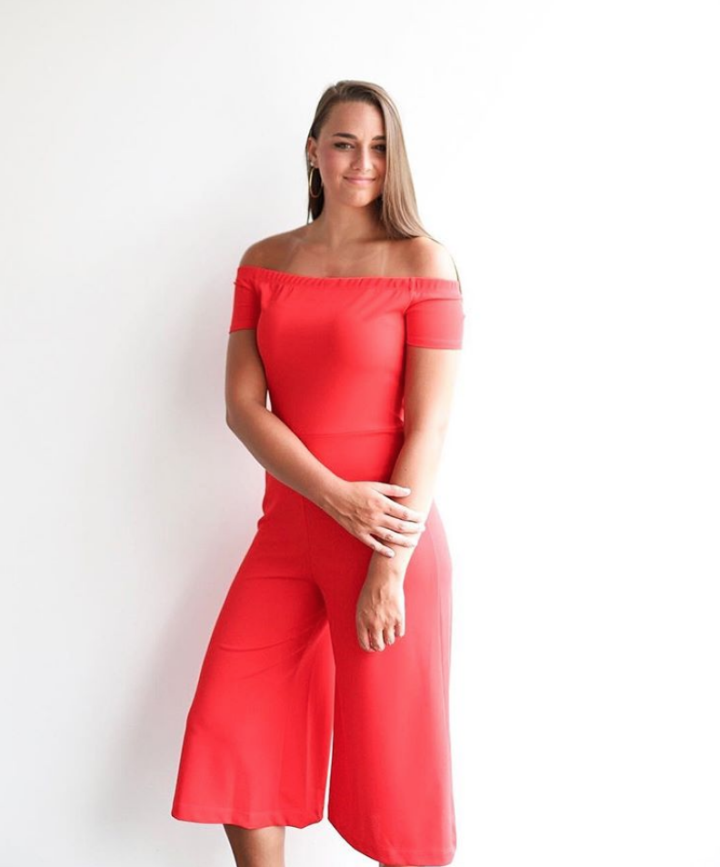 Red OTS Cropped Jumpsuit