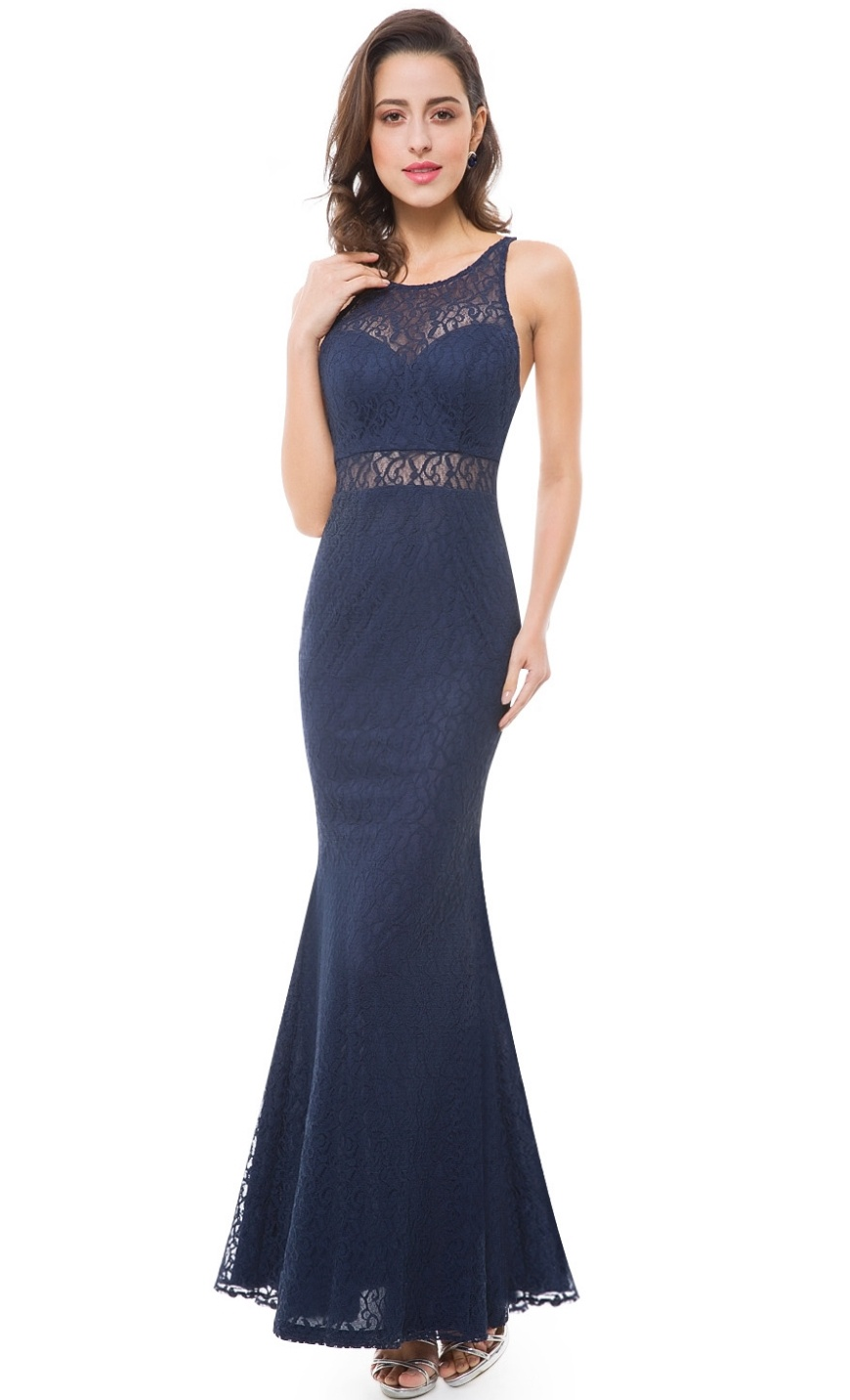Floor Length Gown - Navy Lace Evening Mermaid Maxi Dress, NEW
