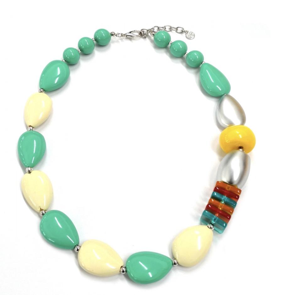 Green & cream bead necklace