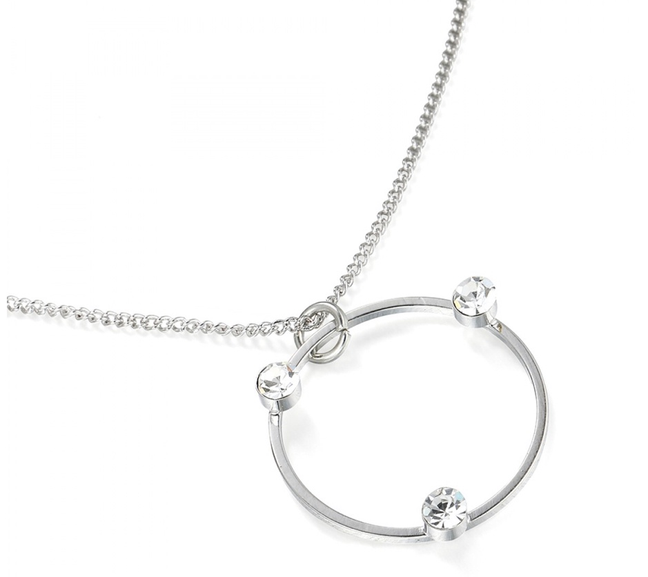 Silver circular pendant with clear crystal stones