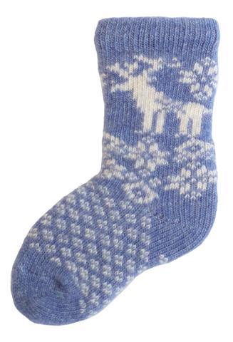LISA B. - BABY WOOL+CASHMERE REINDEER SOCKS IN CHAMBRAY