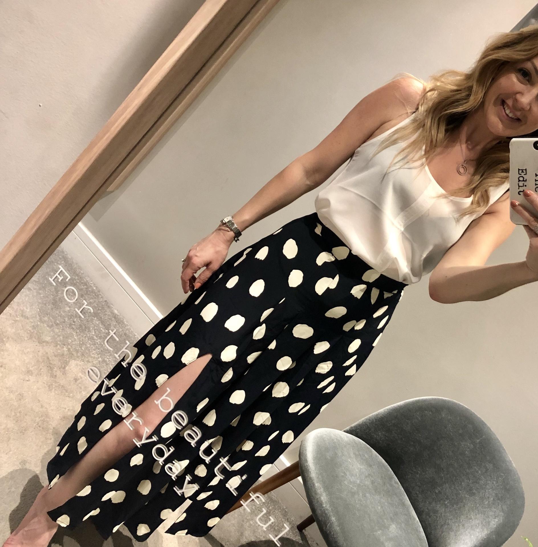 Glamorous Navy Spot Skirt