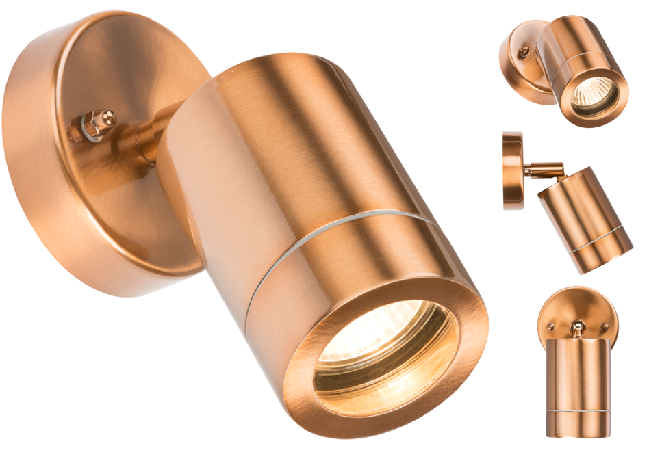 230V IP65 GU10 35W ADJUSTABLE WALL LIGHT - COPPER COLOUR