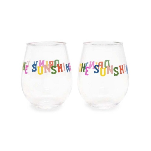 Party On Wine Glass Set | Drink Up Sunshine