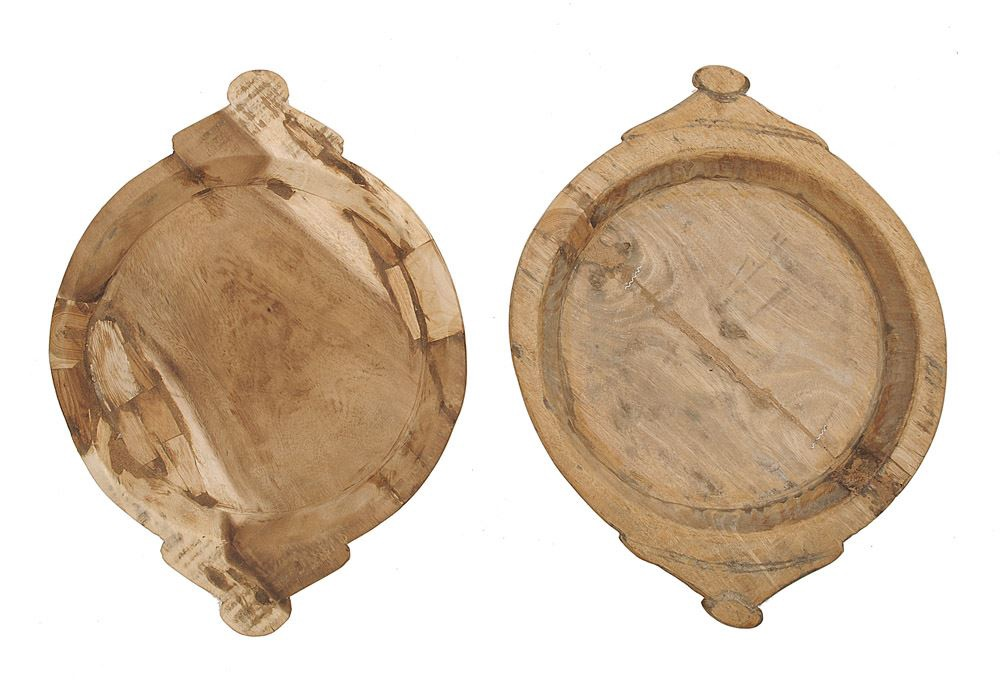 Hand carved wood round tray