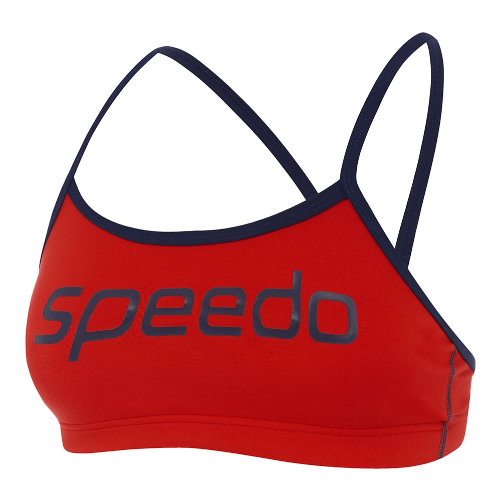 Womens Endurance+ Crop Top Speedo Navy/Fire