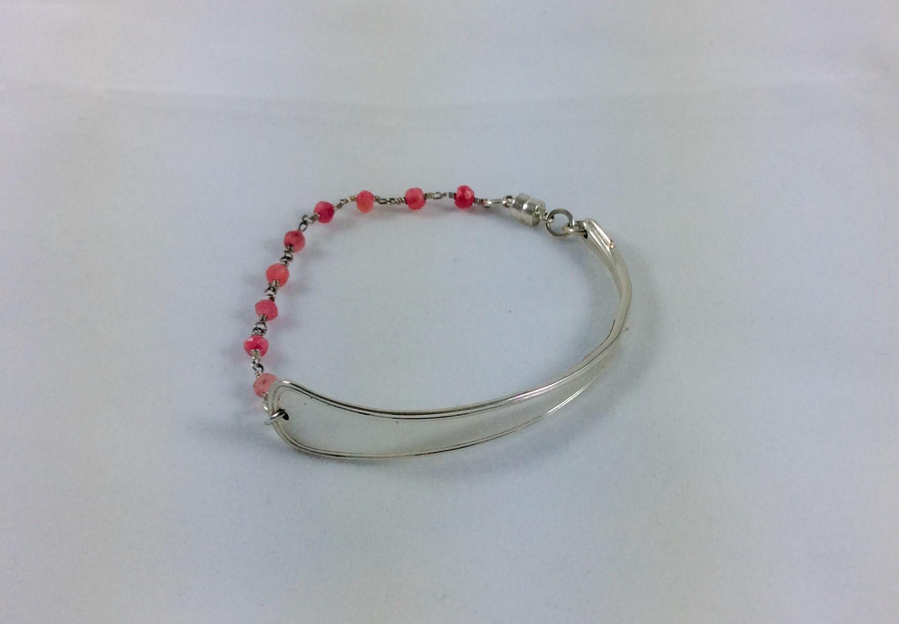 Danish silver and Rose quartz spoon bracelet