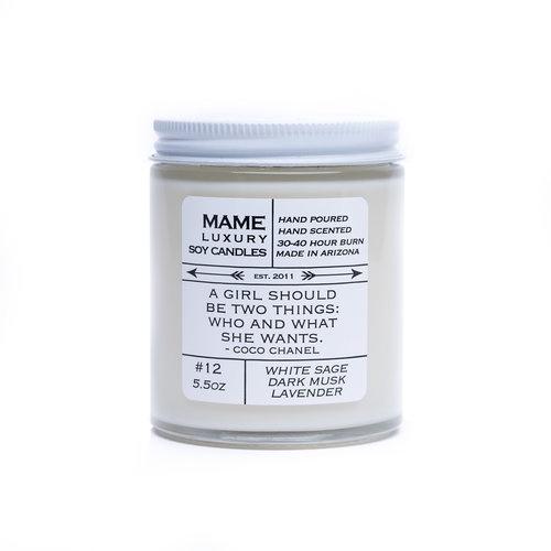 #12 Candle   White Sage, Dark Musk, Lavender