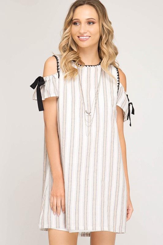Cream/Blk Stripe CS Dress w Blk Stitching