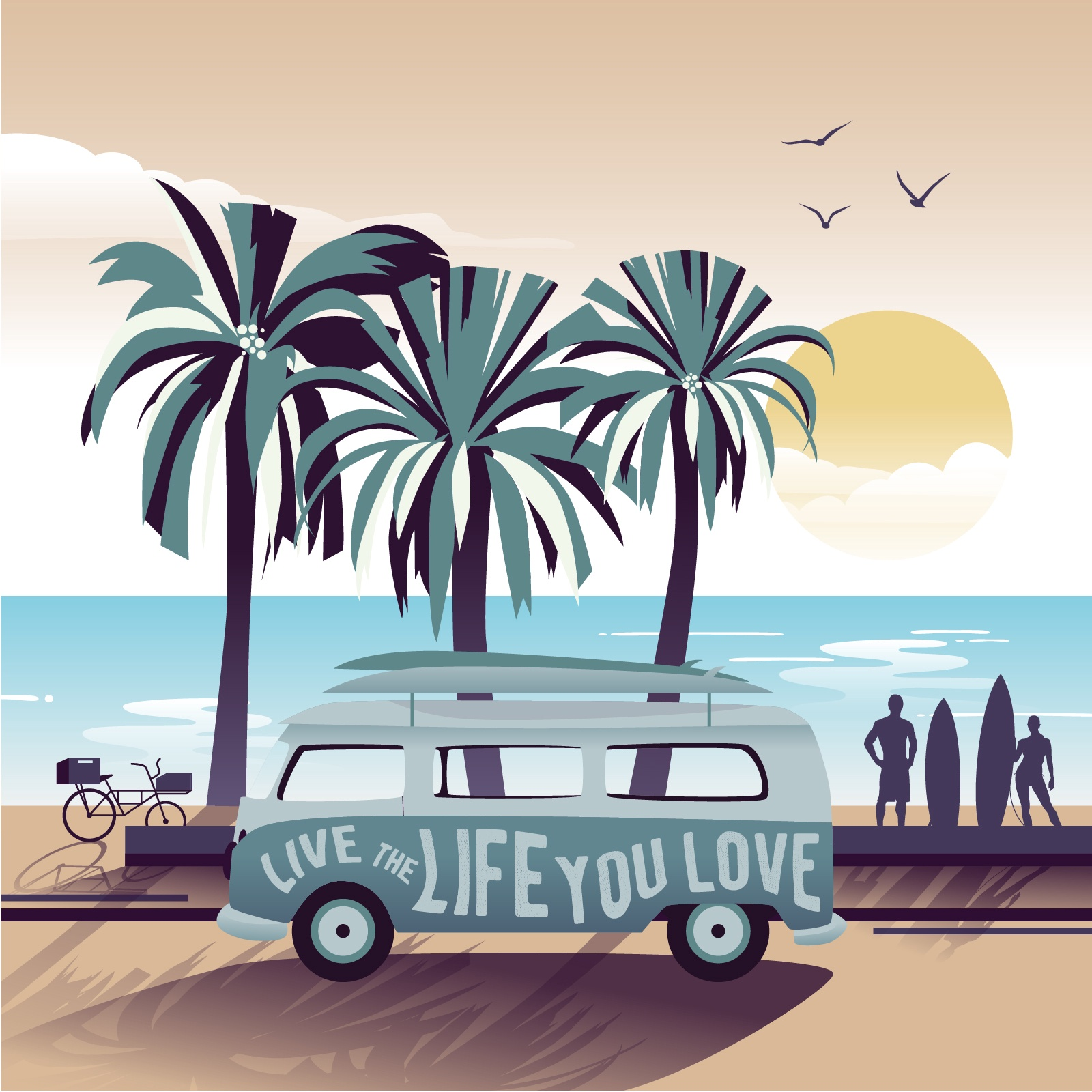 Van Live The Life Illustration Saying
