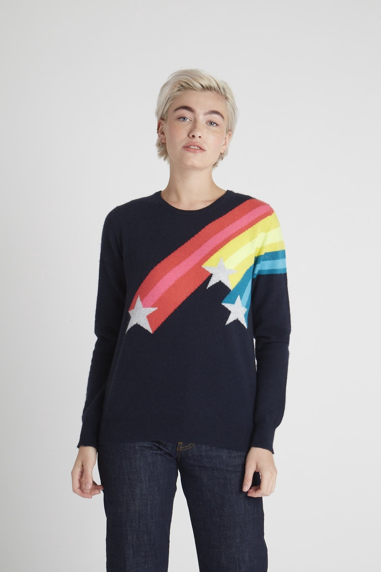Navy Shooting Star Crew Cashmere Jumper