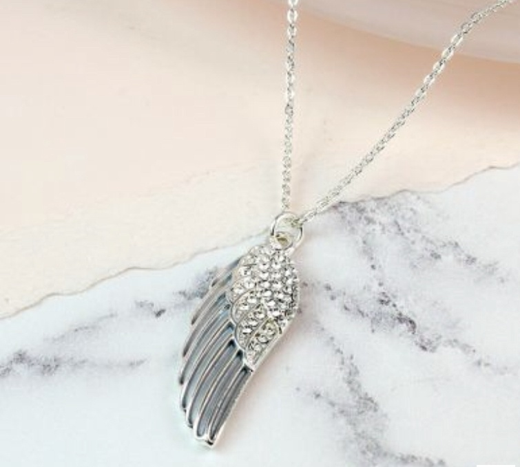 Silver plated enamel angel wing necklace