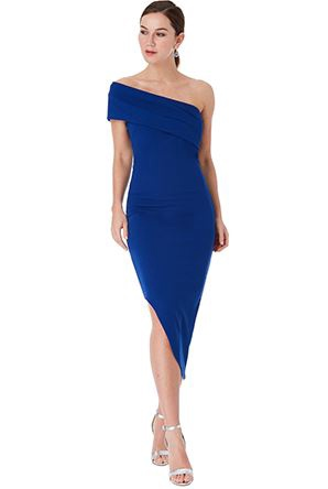 Short Dress - Royal Blue One Shoulder BodyCon Asymmetric Midi Dress, NEW