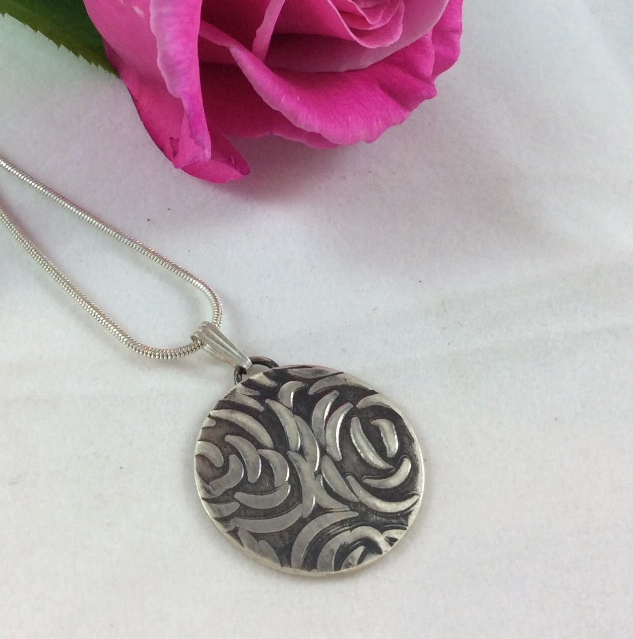Upcycled Sterling Silver Embossed Pendant