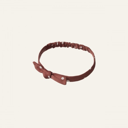 SMALL BOW HEAD BAND - DOTTIE TERRACOTTA PRINT