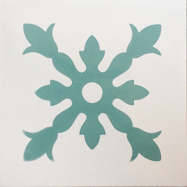 Handmade Tile | Turquoise Flower Star Ornament