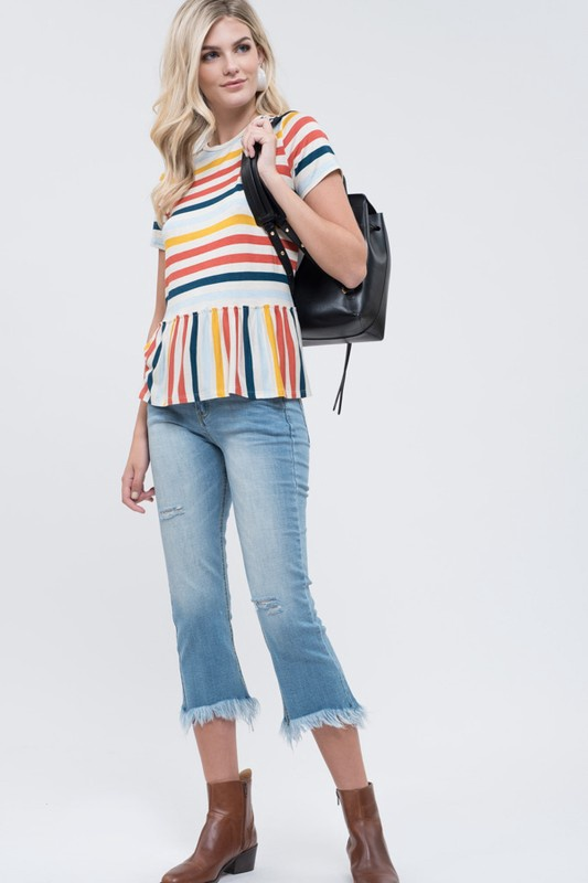 Peplum Stripe S/S Top