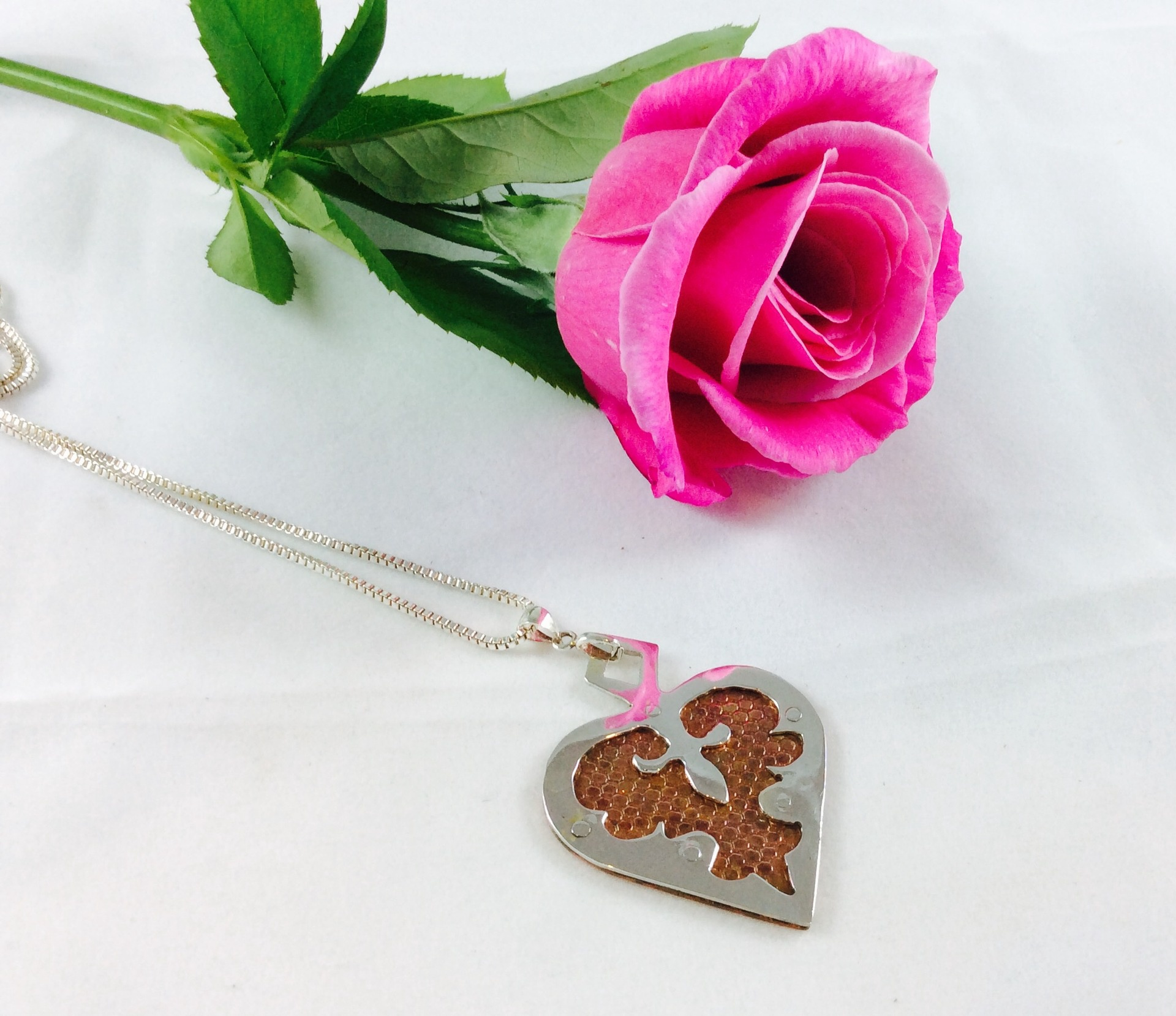 Sterling silver and copper heart pendant
