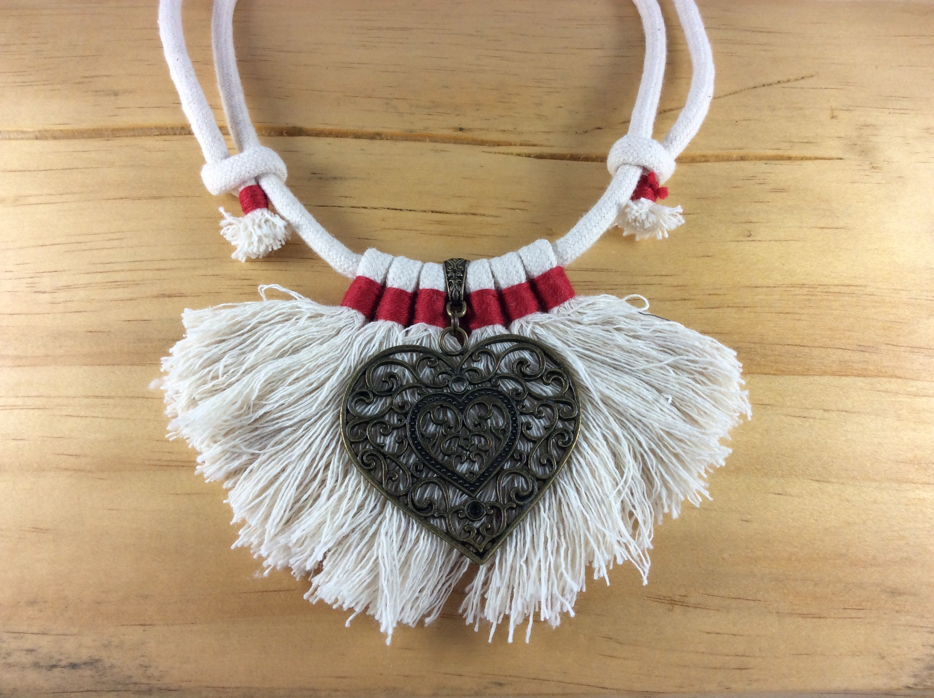 Syx Frayed Lines 'Long Fray' Frayed Cotton Necklace in Mars Red and Double Heart Accent