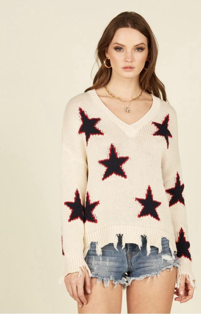 VH- Red Stars Knitted V Neck Top