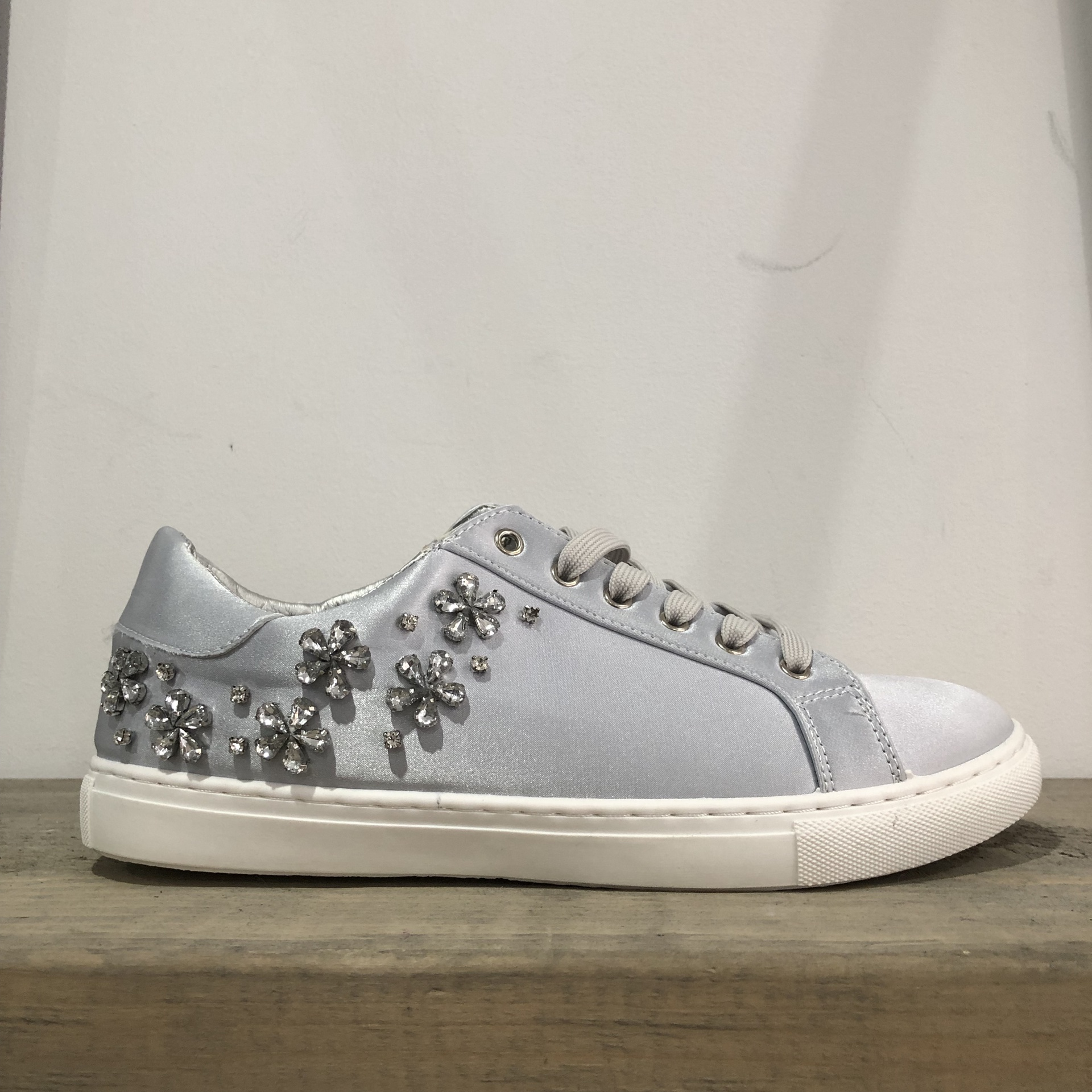 Grey Satin Diamante Trainer