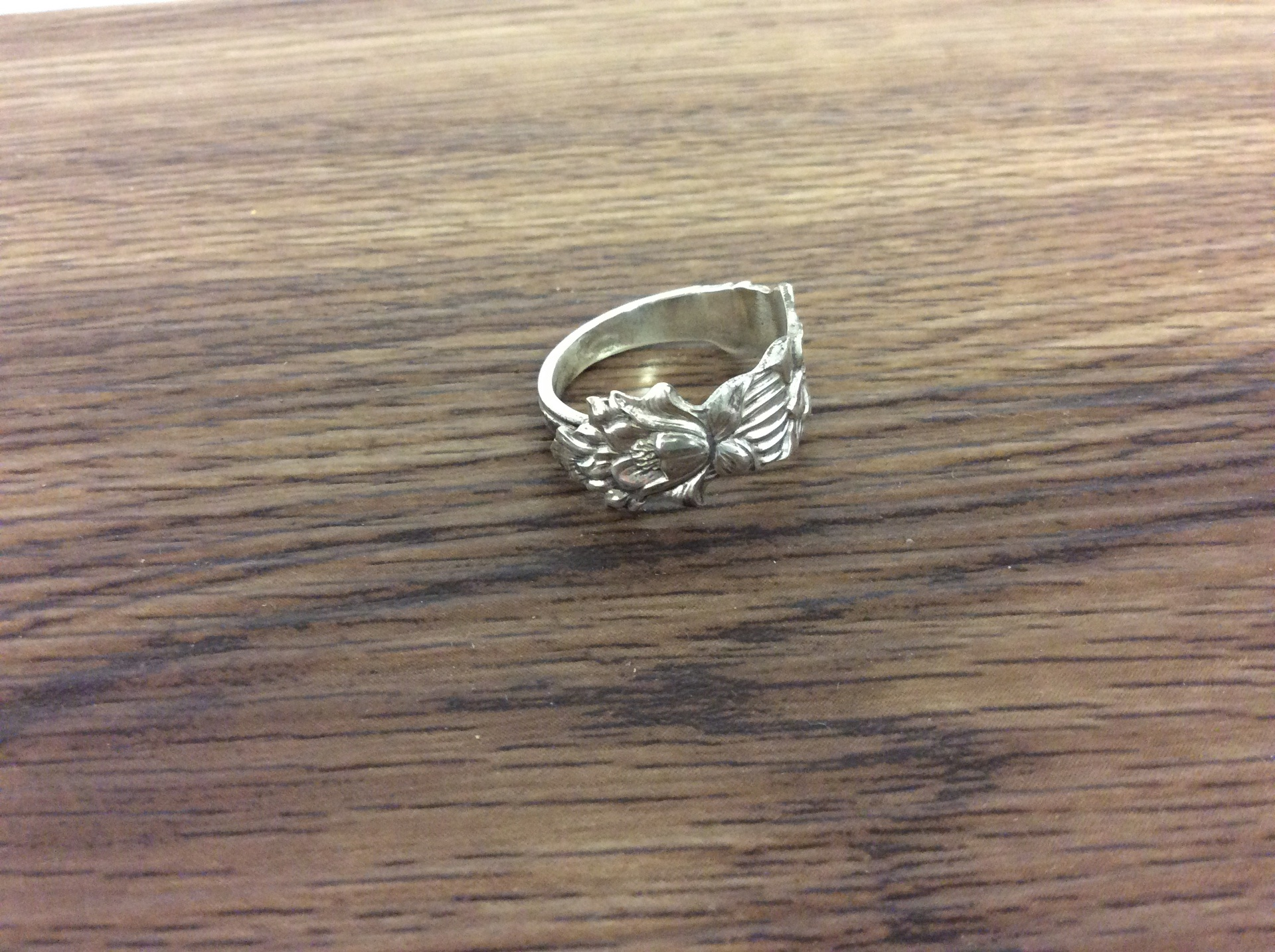 Vintage Sterling Silver Floral Spoon Ring - size P