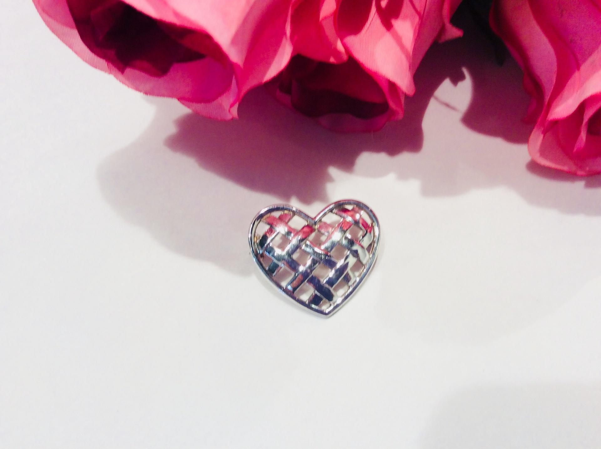 Sterling Silver Woven Heart Brooch