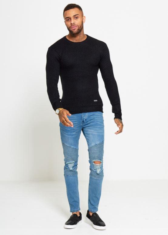 Menswear Slim Fit Knitted Black Jumper