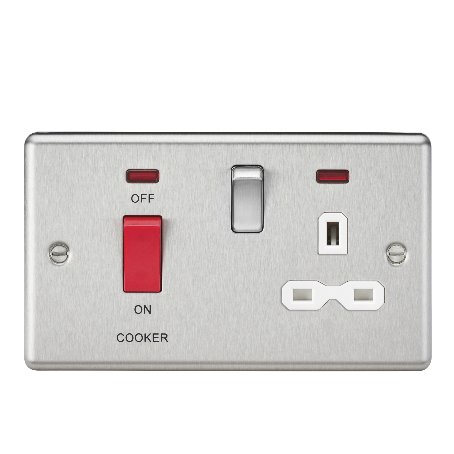45A DP COOKER SWITCH & 13A SWITCHED SOCKET W/NEONS & WHITE INSERT - ROUNDED EDGE BRUSHED CHROME